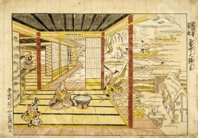 Priskirta Kiyomasu Torii II (1720-1760). Paveikslėlyje matomi kieme auginami bonsai medeliai.