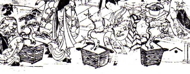 Torii Kiyomitsu (1735-1785). Šiame XVIII a. paveikslėlyje taip pat galime įžvelgti žmones su įrankiais sėdinčius ir tvarkančius medelius vazonuose.