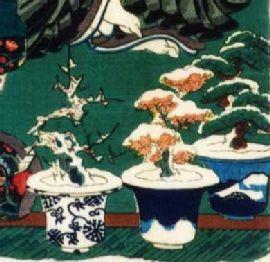 Sniegu padengti bonsai medeliai: slyva, vyšnia ir pušis. Iš 1856 Utagawa Kunisad pagamintos medinės plokštelės. Tai tie patys medžiai, kuriuos sudegino samurajus norėdamas sušildyti vienuolį