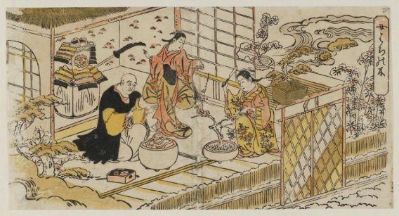 """Nichimura Shigenaga (1697-1756). Šiandienine kalba šnekant – paveikslėlyje matomas XVIII a. """"workshop'as"""", kurio metu formuojami ir tvarkomi medeliai."""