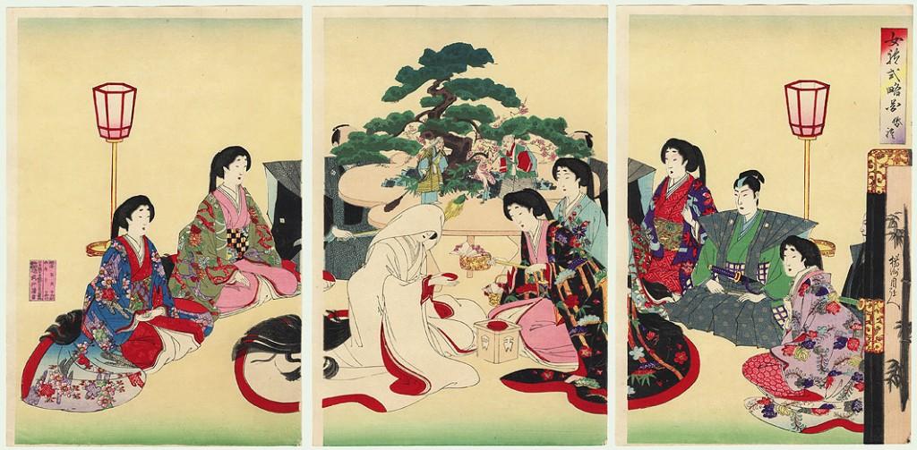 Chikanobu Toyohara (1838-1912) kūrinys. Kairiajame paveikslėlyje matomi sudėti vazonai su bonsais