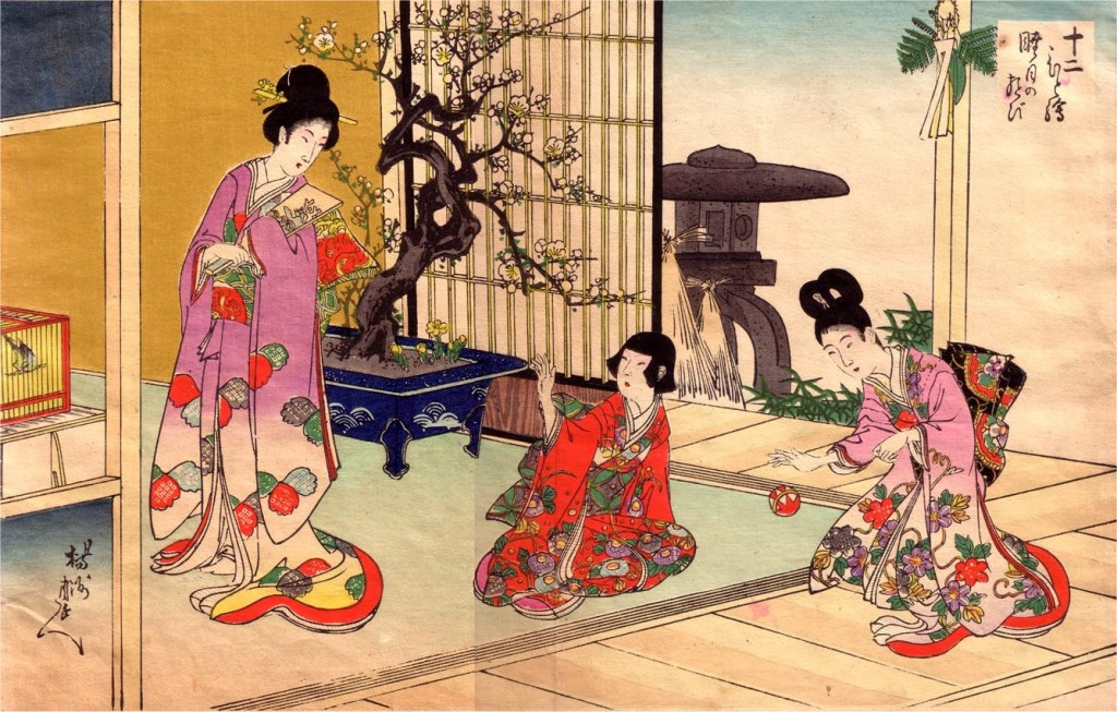 Chikanobu Toyohara (1838-1912) kūrinys. Už moterų kambaryje matoma didžiulis žydintis bonsas. Galimai tai – sakura