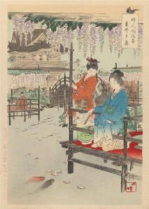 """Ogata Gekko, 1895, Ukiyo-e stilius, """"Women's Customs and Manners""""."""