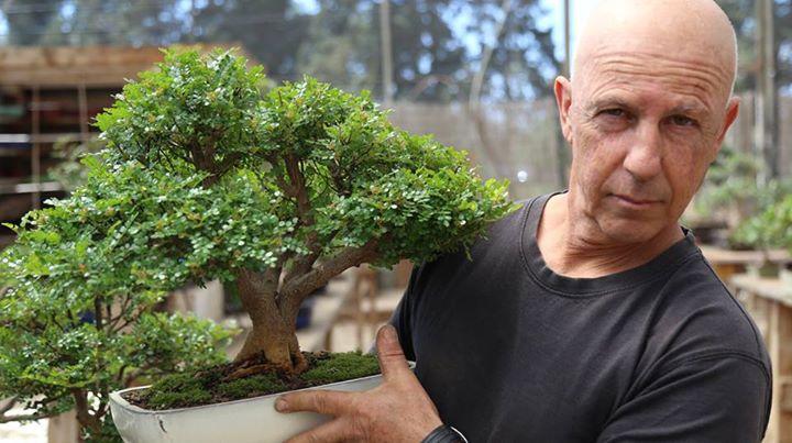Moshe Emergui in his garden